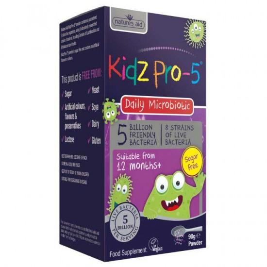 Kidz Pro-5 Daily Microbiotic 5 Billion Friendly Bacteria 90γρ - Natures Aid / Προβιοτικά Βρέφη - Παιδιά 12 μηνών+