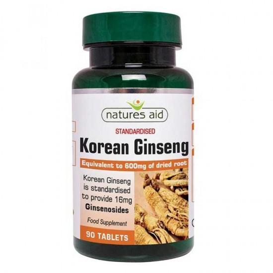 Korean Ginseng 40mg (600mg equiv) 90 Tabs - Natures Aid