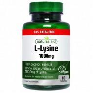 L-Lysine 1000 mg Natures Aid 80 ταμπλέτες / Ανοσοποιητικό / Αμινοξέα