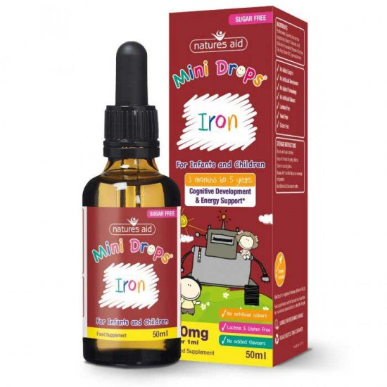 Iron Mini Drops 50ml - Natures Aid / παιδιά 3 μηνών - 5 ετών