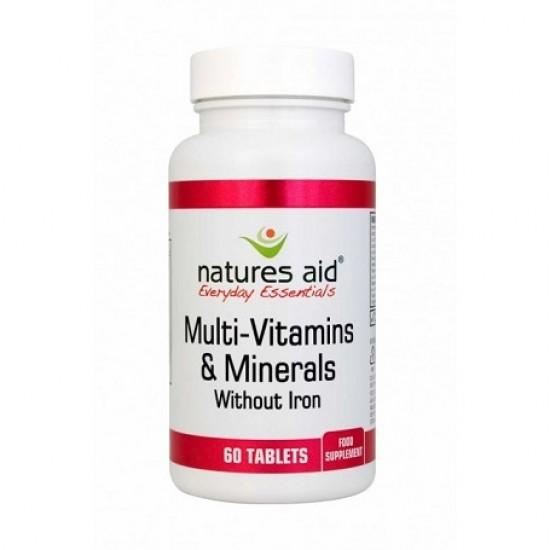 Multi-Vitamins & Minerals (χωρίς Σίδηρο) 60 ταμπλέτες - Natures Aid / Πολυβιταμίνη Iron-Free