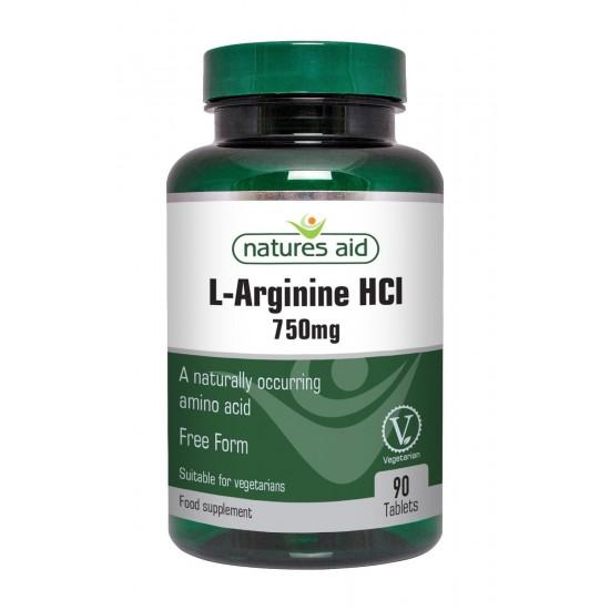 L-Arginine HCI Free Form 750mg 90 ταμπλέτες Natures Aid / Αμινοξέα