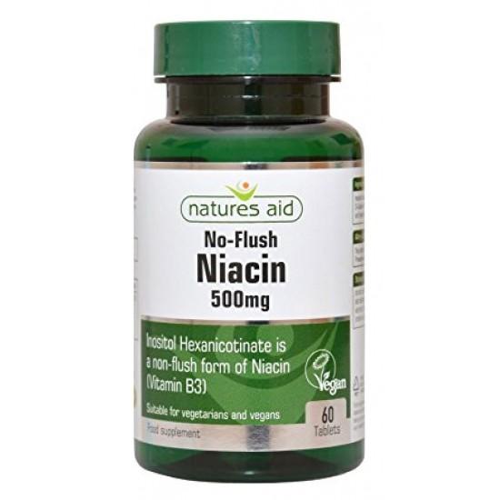 Niacin 500mg 60 ταμπλέτες No-Flush Vitamin B3 - Natures Aid / Flush Free Βιταμίνη Β3