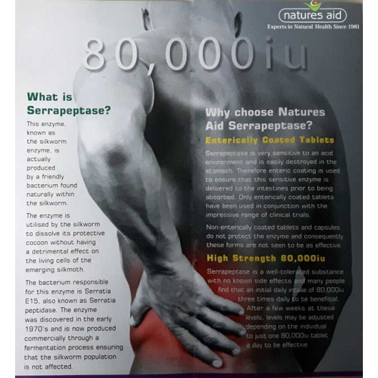 Serrapeptase 80,000 iu - Natures Aid 90 ταμπλέτες / Σερραπεπτάση
