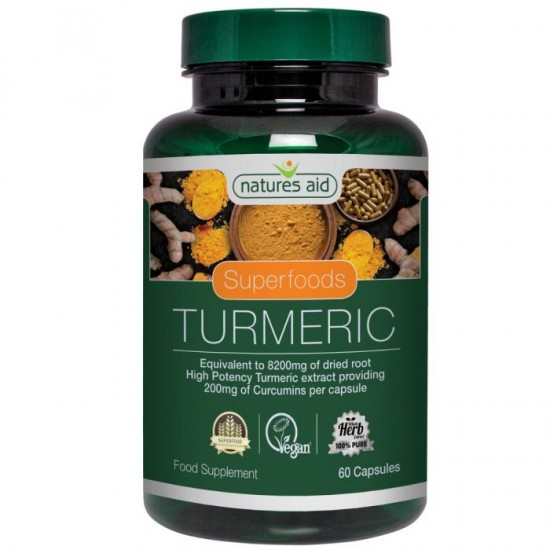 Turmeric 8200MG (Whole plant - High Potency) 60 caps - Natures Aid  / Kουρκουμάς