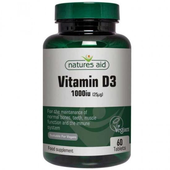 Vegan Vitamin D3 1000iu 60 tabs - Natures Aid
