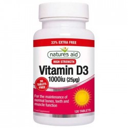 Vitamin D3 1000 iu (25μg) 120 κάψουλες Natures Aid / Βιταμίνη D3