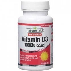 Vitamin D3 1000 iu (25μg) 90 κάψουλες Natures Aid / Βιταμίνη D3