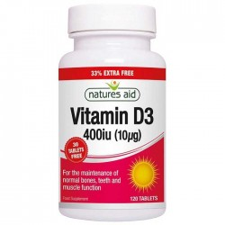 Vitamin D3 400 iu (10μg) 120 κάψουλες Natures Aid / Βιταμίνη D3
