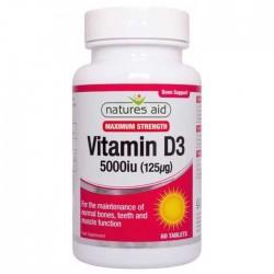 Vitamin D3 5000iu (125μg) 60 ταμπλέτες - Natures Aid / Βιταμίνη D3