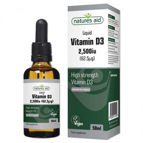 Vitamin D3 2500IU 62.5μg 50ml - Natures Aid / Βιταμίνη D 3