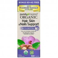 Organic Hair, Skin & Nails Support with Biotin 100 caps - Purely Inspired