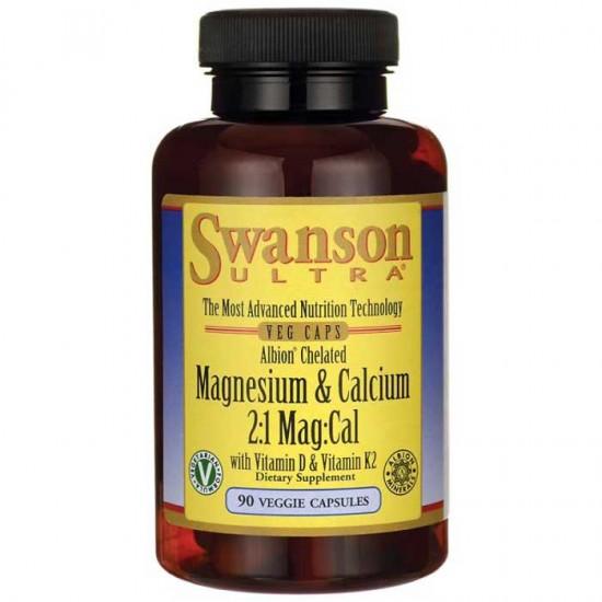 Albion Chelated Magnesium & Calcium 2:1 - 90 vcaps - Swanson / Μαγνήσιο - Ασβέστιο